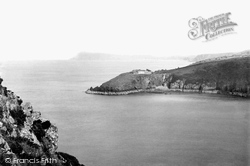 Fishguard, Harbour Entrance And Dinas Head 1890