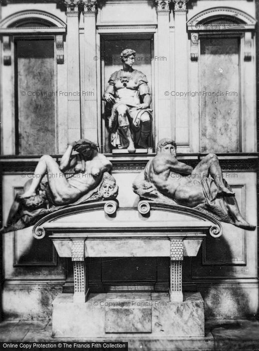 Photo of Florence, Medici Chapel, Tomb Or Giuliano De' Medici With Night And Day Statues c.1910
