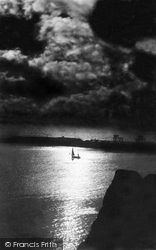 Folkestone, The Harbour By Moonlight c.1890