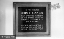 Forest Row, Kennedy Plaque At The Catholic Church c.1965