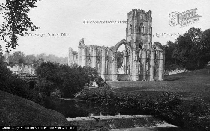 Photo of Fountains Abbey, And Waterfall c.1885