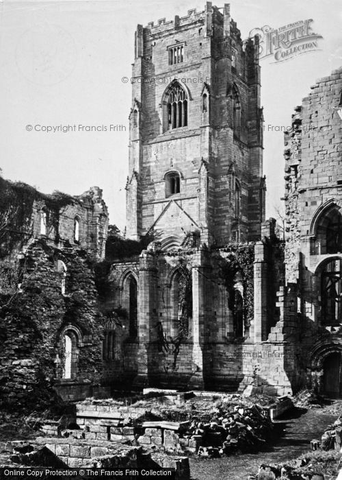 Photo of Fountains Abbey, North Tower From South East c.1867