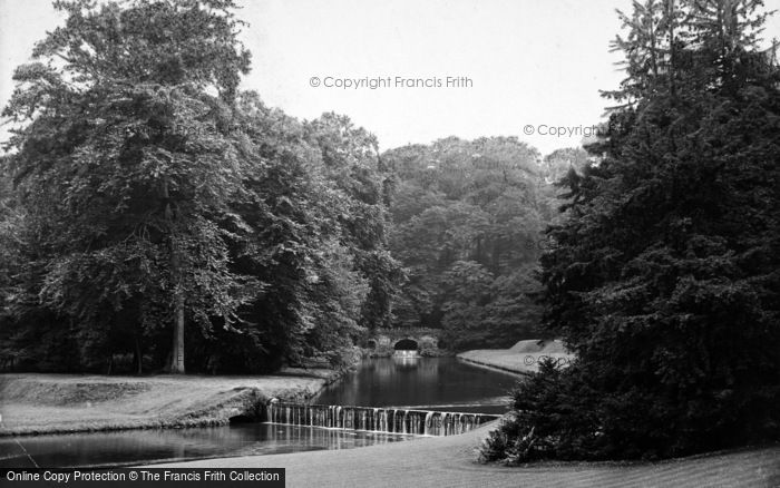 Photo of Fountains Abbey, Rustic Bridge And Waterfall 1914