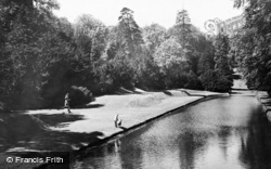 Fountains Abbey, The Abbey Grounds From The Rustic Bridge c.1955