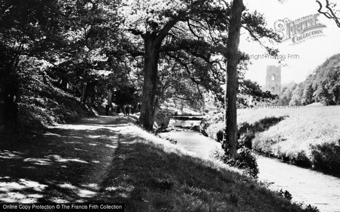 Photo of Fountains Abbey, View From The River c.1955