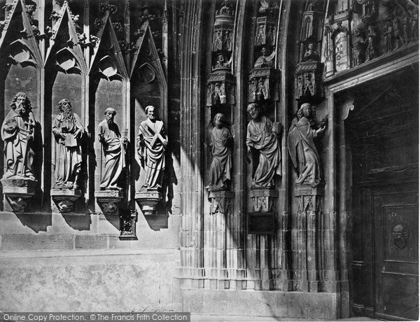 Photo of Fribourg, The Cathedral, Sculptures On Porch c.1872