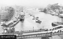 Gateshead, River Tyne And Swing Bridge c.1920