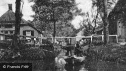Village Canal And A Punt c.1930, Giethoorn