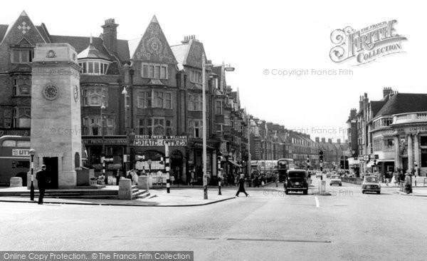 Golders Green, the Memorial and Golders Green Road c1965