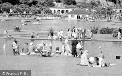 Goodrington, Tourists By The Boating Lake c.1955