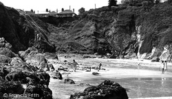 Gorran Haven, Beach And Cliffs c.1955