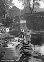 Goyt Valley, Children Crossing The Stepping Stones 1914