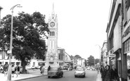 Gravesend, Milton Road And The Clock Tower c.1965