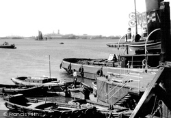 Gravesend, Thames Shipping Scene Looking Upriver c.1955