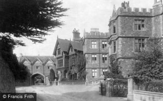 Great Malvern, Abbey Hotel and Priory Gateway c1875