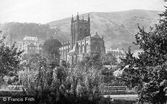 Great Malvern, Hills and Priory Church c1870