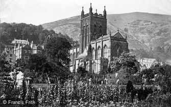 Great Malvern, Priory Church from Promenade Gardens c1870