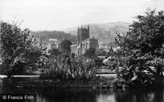 Great Malvern, Priory Church from the Swan Pool c1870
