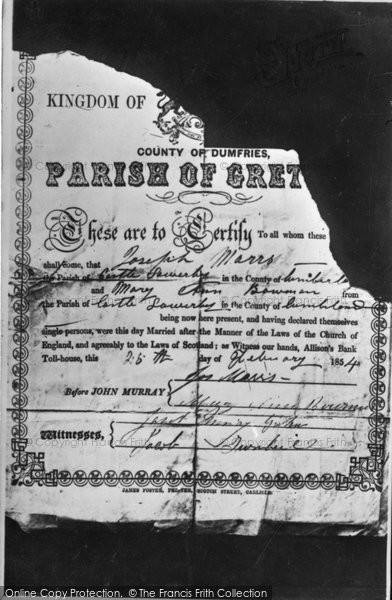 Photo of Gretna Green, An Old Toll House Marriage Certificate c.1940