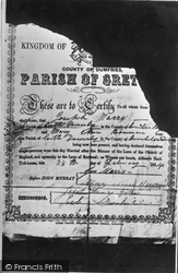 Gretna Green, An Old Toll House Marriage Certificate c.1940