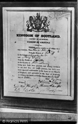 Gretna Green, Marriage Certificate Hanging In Original Gretna Toll House c.1940