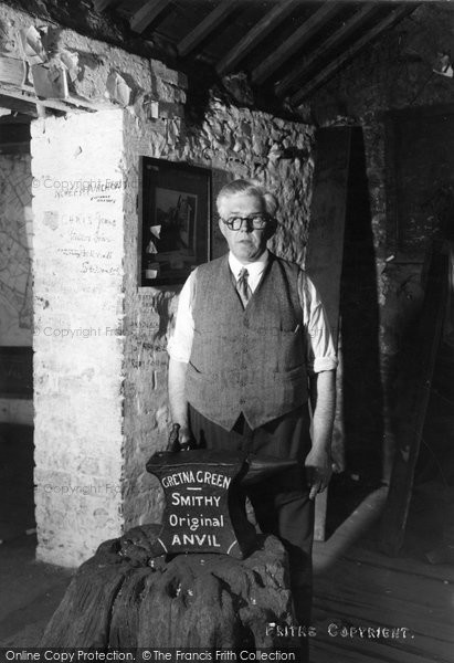 Photo of Gretna Green, The Blacksmith And Original Anvil c.1940