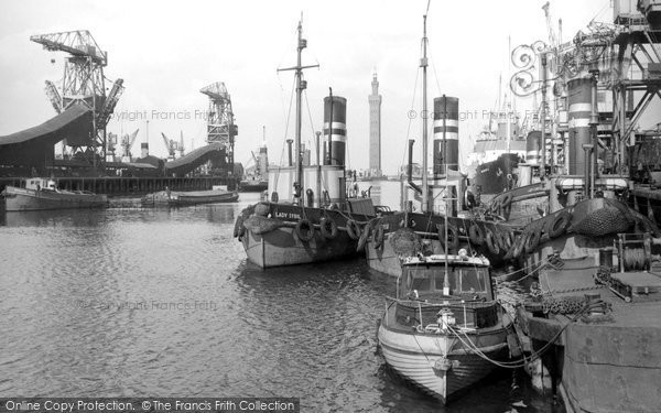 Grimsby, the Royal Dock c1955
