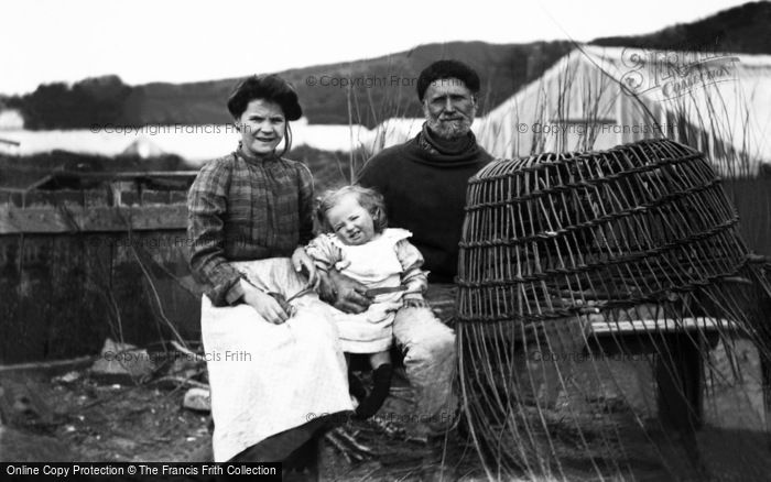 Photo of Guernsey, Family Making Lobster Pots c.1900