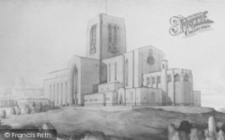 Guildford, Drawing Of The Cathedral c.1935