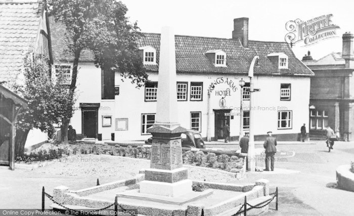 Photo of Halesworth, War Memorial And Kings Arms Hotel c.1955