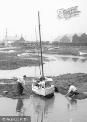 Hambleton, Men Moving A Sailing Boat c.1960