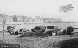 Hartlepool, Boats On The Beach 1886