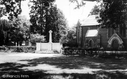 The Memorial And St John's Church c.1965, Hartley Wintney