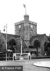 Havant, St Faith's Church and War Memorial c1955