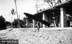 Honolulu, A Surfer On Beach c.1935, Hawaii