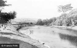 Hay-on-Wye, River Wye c.1965