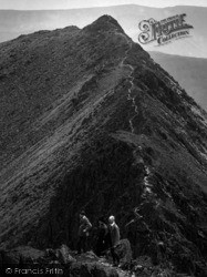 Helvellyn, Walkers On Striding Edge 1912
