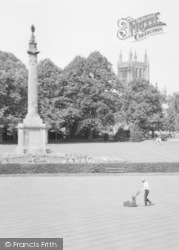 Hereford, Castle Green, Nelson's Column And Cathedral c.1960