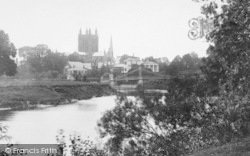 Hereford, Cathedral And River Wye 1910