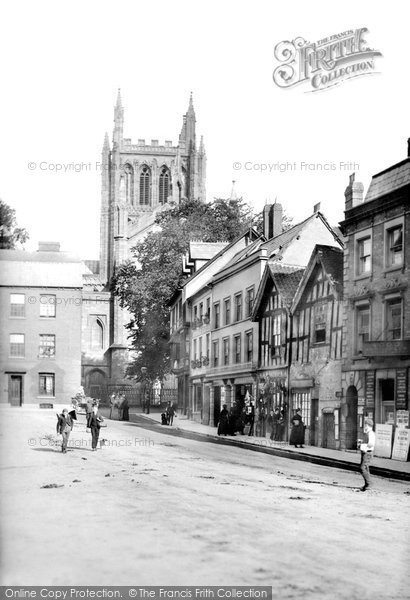 Photo of Hereford, Street and Cathedral Tower 1891, ref. 29292