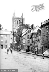 Street And Cathedral Tower 1891, Hereford