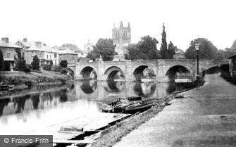 Hereford, the Cathedral and Wye Bridge 1890