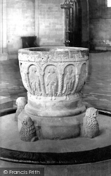 Hereford, The Cathedral, The Font c.1869