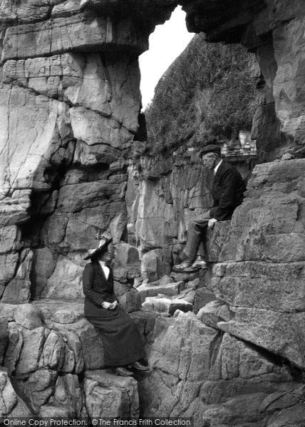 Photo of Heysham, Couple At Fairy Chapel Rocks 1912