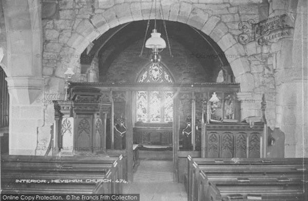 Photo of Heysham, The Church Interior c.1915