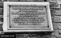 Hingham, Plaque From Hingham, Massachusetts c.1955