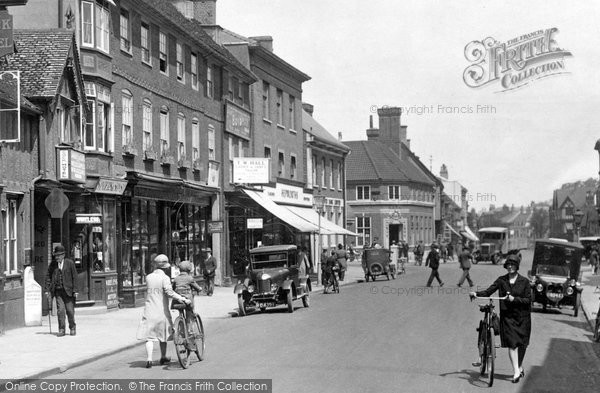 Photo of Hitchin, Cyclists In The High Street 1929