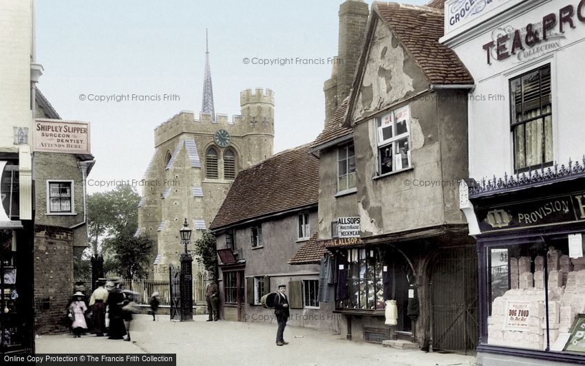 Hitchin, St Mary's Church from Market Place 1908