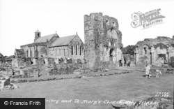 Holy Island, Lindisfarne Priory And St Mary's Church c.1960