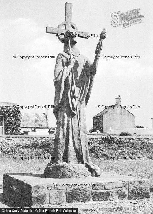 Photo of Holy Island, St Aidan's Statue c.1960